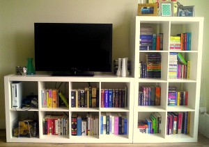 Bookshelves in the living room, with our TV and video game consoles